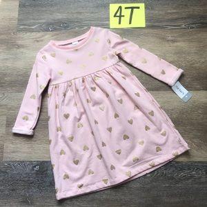 🛍NWT Carter's Girls 4T Fleece Long Sleeve Dress